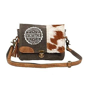 Myra Bag Vintage Stamp Upcycled Canvas & Cowhide Leather Messenger Bag S-1224