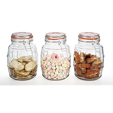 Simple Flow - 3-Piece Large Capacity Glass Canister Set with Airtight Clamp Lids-Food Storage Container