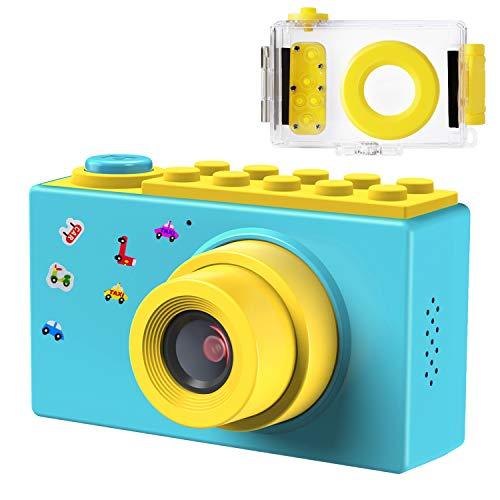 FISHOAKY Kamera Kinder, Wasserdicht Digitalkamera Videokamera Fotoapparat Kinder Full HD 1080P / 8MP / 4X Digitaler Zoom / 2 Zoll LCD Bildschirm / 256M TF Karte (Blau)
