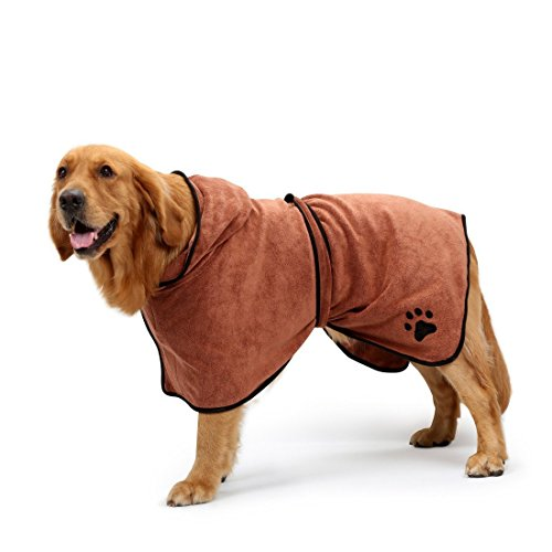 BONAWEN Dog Bathrobe Soft Super Absorbent Luxuriously 100% Microfiber Dog Drying Towel Robe with Hood/Belt for Extra Large,Large,Medium,Small Dogs (Brown,M)