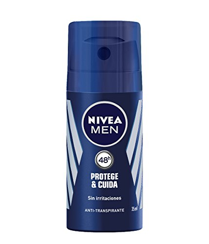 NIVEA MEN Protege & Cuida Spray Mini, desodorante de viaje con máxima protección 48 horas, spray antitranspirante de cuidado masculino, 0% alcohol - 1 x 35 ml