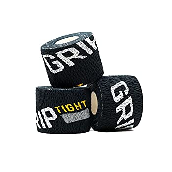 GRIPTIGHT Tape - Weightlifting Tape for Fingers Thumbs Pull Up Bar and Lifting Tape - Athletic Grip Tape for Crossfit Weightlifting Workout Hook Grip Gym and Olympic Lifting  3 Pack Stealth
