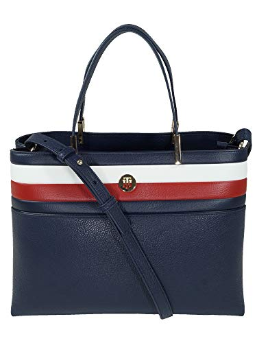 Tommy Hilfiger Damen Handtasche Tasche Henkeltasche TH Core Satchel Blau