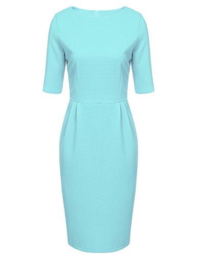 ANGVNS dames elegante etui jurk zakelijke jurk bodycon figuur benadrukt korte mouwen zomermode knielange feestelijke zomerjurk roze zwart blauw EU maat 36-50