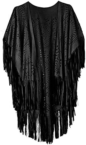 Women s Beach Faux Suede Kimono Cape Fringed Asymmetric Cover up Shawl Cardigan Black product image