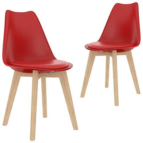 vidaXL 2X Sedie da Pranzo Seggiole da Cucina Sedili Sedie per Sala da Pranzo Sedute Mobili Arredo Arredamento da Pranzo Rosse in Plastica