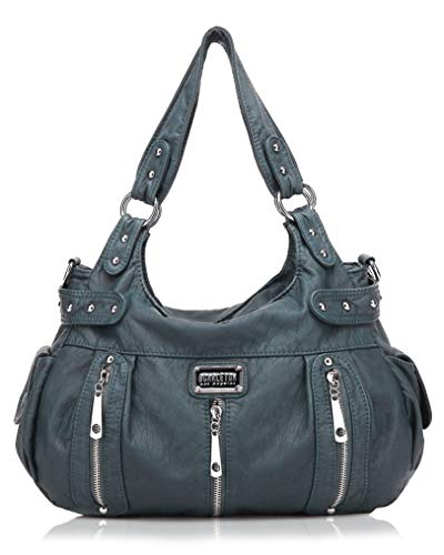 Scarleton Satchel Handbag for Women, Ultra Soft Washed Vegan Leather Crossbody Bag, Shoulder Bag, Tote Purse, H1292 (Blue)