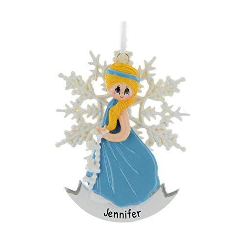 Personalized Snow Princess Christmas Tree Ornament 2020 - Beautiful Blonde Frozen Dress Glitter Snowflake Tale Cinderella Treasure Toy Gift Ice Elsa Yellow Hair Queen Annual - Free Customization
