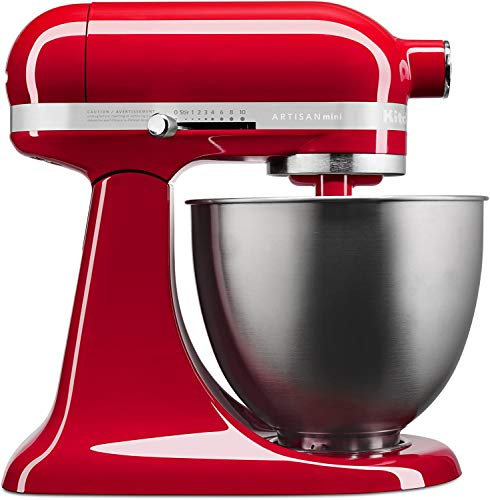 KitchenAid KSM3311XER Artisan Mini Series Tilt-Head Stand Mixer, 3.5 quart, Empire Red (Renewed)