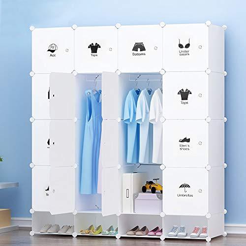 Armoire Pratique et Modulable avec Boîte à Chaussures, Motif Décoratif Cubes Emboîtables pour Objets Personnels, Vêtements, Chaussures, Jouets (16+4 Cubes)