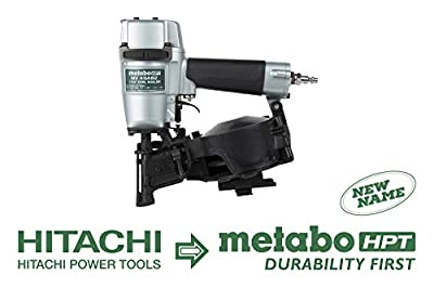 Metabo HPT NV45AB2 Roofing Nailer, 7/8-Inch up to 1-3/4-Inch Coil Nails, 16 Degree, Side Load, Nail Capacity - 120, Lightweight and Well-Balanced, 5 Year Warranty by Metabo HPT