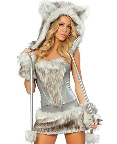 COMVIP Mujeres Disfraz de animal atractivo de Halloween del gato de Cosplay Hairy Lobo Tamaño libre: Busto 90cm Cintura 72-74cm Gris