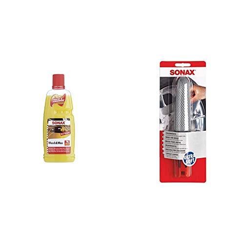 SONAX Wasch & Wax (1 Liter) gründliche Schmutzentfernung und dauerhafter Schutzfilm & FelgenBürste Ultra-Soft mit Microfaserüberzug zur kratzfreien, schonenden und unterstützenden Felgenreinigung