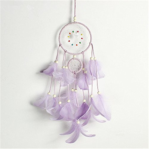 Emorias 1 attrape-rêves indien avec plumes - Décoration à suspendre - Carillon à vent - Violet
