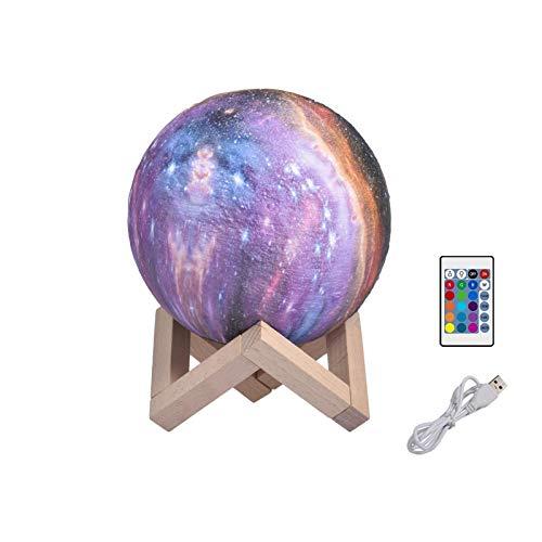 Applyvt LED Moon Nachtlicht, 3D LED Mondlampe mit Holzregalfernbedienung und Touch-Pat-USB-Aufladung, 16 Farben Dimmbare Touch Mondlampe, 3D-Druck Mond Lampe für Babyzimmer Wörter und Wohnzimmer Deko
