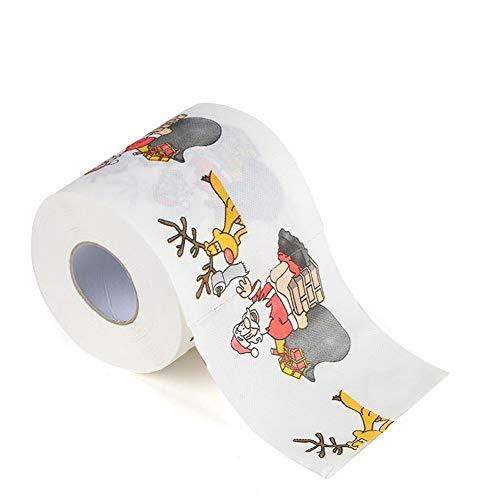 Ysoom Toiletpapier Kerstmis, kleine dingen voor adventskalender 1 rol Kerstman kerstboom eland patroon Grappige tissue servet huisdecoratie