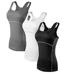 YR.Lover.sport YR.Lover Damen 3er Pack Dry Fit Kompression Running Yoga Tank Top T-Shirt, M, 3er Pack;schwarz.grau.weiß