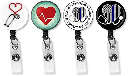 Nurse Badge Reel Holder Retractable 4 Pack Retractable Badge Holder with Alligator Clip for product image