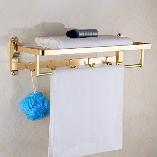 WSLWJH Estante De Toalla De Baño Soporte De Ducha De Aluminio Pulido De Oro Rosa Accesorios De Baño Organizador De Pared Gancho Colgador Estante De Almacenamiento Plegable