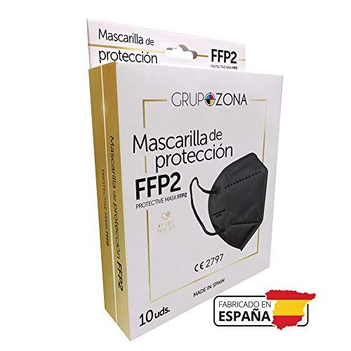 10 uds. Mascarillas FFP2 negras homologadas y fabricadas en España CE, filtrado de 5 capas - GrupoZona - Mascarilla ffp2 protección respiratoria