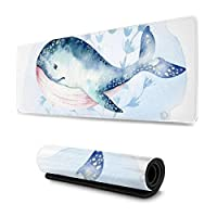 マウスパッド 大型 ゲーミングマウスパッド クジラ 水彩画 海 水彩画 個性かわいい 防水性 耐久性 滑り止め 低反発キーボードパッド 多機能 超大判 30×80cm おしゃれ