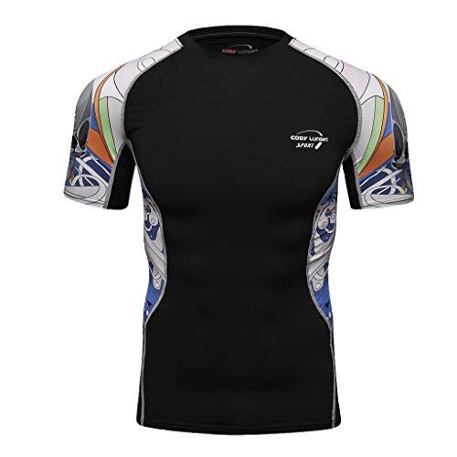 BOLANQ Kurzarm Hemden Herren, Yoga-Eignungs-weiche T-Shirt der Art- und Weisemänner schnell trocknende Kurze Hülsen-Spitzenbluse(Large,Gelb)