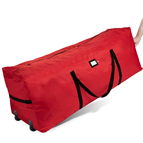 ZOBER Rolling Christmas Tree Storage Bag - Fits Up to 6-7.5 ft. Tall Artificial Disassembled Trees, Durable Handles & Wheels for Easy Carrying and Transport - Tear Proof Duffle Bag