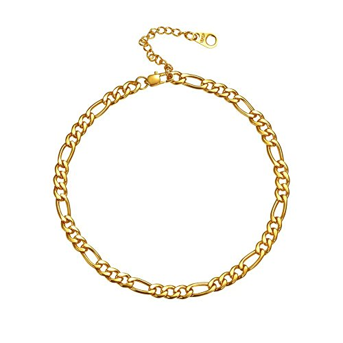 U7 18K Gold Anklets 5mm Italy Figaro Chain Link Bracelet Barefoot Jewelry, Adjustable Fit 180-270mm Foot