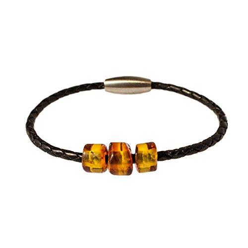 AmberConnections Unisex Naturleder Armband mit 3 Bernsteinen, geflochten, schwarz