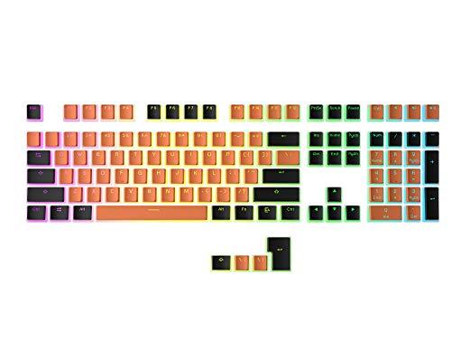 HK Gaming 108 Double Shot PBT Pudding Keycaps Keyset per tastiera da gioco meccanica MX Switch (arancione e nero)