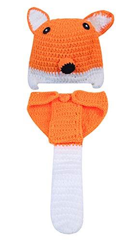 Happy Cherry Baby Jungen Mädchen Photography Prop Neugeborene Fuchs Kostüm Hut Strick Crochet Mütze