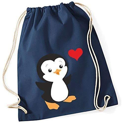 Mein Zwergenland Jute Pingouin avec Cœur Rouge, 12 L, Bleu Marine, Motif 38