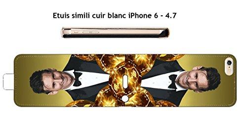 Etuis piel blanco iPhone 6–4.7Diseño Messi el balón de oro