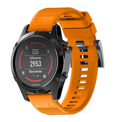 WIIKAI Bracelet Compatible avec Garmin Fenix Fenix 5(22mm Réglables Replacement Band pour for Garmin fenix5,Garmin forerunner935,Garmin Approach S60 Wristband Bracelet de Montres.(Orange)