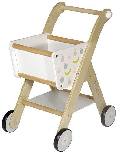 Kindsgut Carrello della spesa in legno per bambini (da 1 anno), accessori da negozio, carrello per imparare a camminare, decorato con frutta