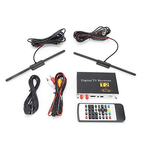 Qiilu DVB-T2 Receptor de TV para automóvil, decodificador de TV con sintonizador de TV y 2 Antnenna
