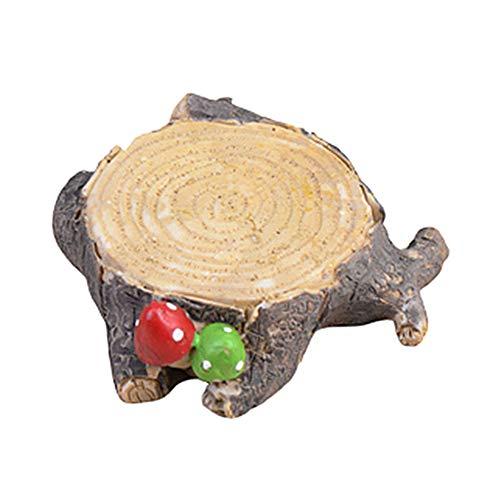 Beautijiam Künstliche Pilz-Baumstumpf Miniatur-Figuren, Feengarten-Zubehör, Mikro-Landschaft – Blumentöpfe, Bonsai-Basteldekoration