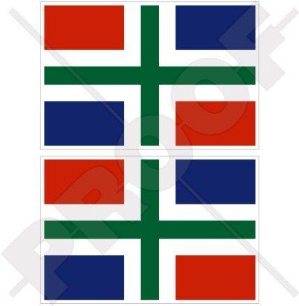 GRONINGEN Provincie Vlag Nederland Grönnen, Nederland Nederlandse 3 (75mm) Vinyl Bumper Stickers, Stickers x2