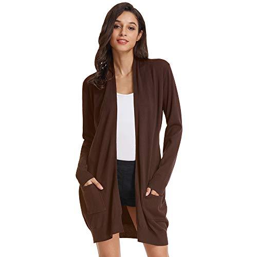 GRACE KARIN Sweater High Stretchy Damen Strickjacke Langarm Lang Casual Cardigan Knitwear mit Taschen XL Kaffee CLAF1003-14