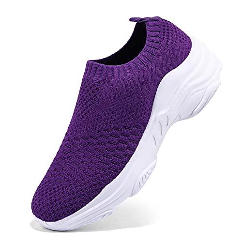 Damen Sneakers Sportschuhe Laufschuhe Plateauschuhe Turnschuhe Fashion Frauen Schuhe Atmungsaktives Leichte Schuhe Trainer Outdoor, Violett 1, 38 EU