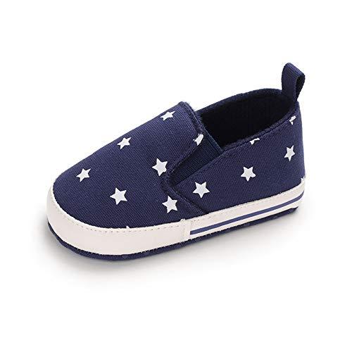 Baby Schuhe Junge Lauflernschuhe BabySchuhe Weiche Sohle Anti-Rutsch Flach Dunkelblau 6-12 Monate