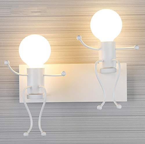 ZZKK Kinderwandleuchte Modern Schlafzimmer Nachttischlampe LED Kreative Aisle Schmiedeeisen Dekorative Wandleuchte Villain,Weiß