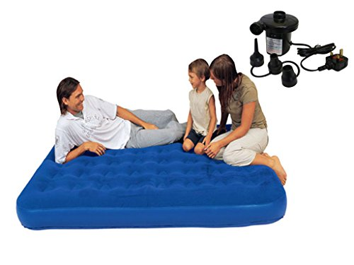 FiNeWaY Inflatable Flocked Air Bed Airbed Mattress Camping Guest Blow Up Bed Indoor Outdoor (Double + 240v Pump)