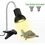 Reptile Heat Lamp, Basking Spot Lamp with Holder & Switch,UVA UVB Reptile Lamp with Fixture for Lizard Turtle Snake Amphibian & Aquarium(with 2 Bulbs)