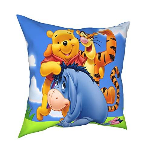 Winnie The Pooh and Eeyore - Funda de almohada decorativa cuadrada de doble cara para sofá, funda de almohada de 45,7 x 45,7 cm