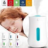 Xpassion Humidificador Ultrasónico Difusor con Luz Nocturna de 7 Colores, 21dB Humidificador, Humidificador Bebés con Lámpara Fragante para Yoga SPA Oficina Coche