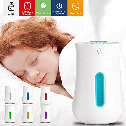 USB Luftbefeuchter, 10dB Ultra Leise Raumluftbefeuchter, Xpassion Mini Ultraschall Air Humidifier für das Schlafzimmer&Kinderzimmer, Tragbarer Luftbefeuchter mit 7 Farben für Haus Yoga Büro, 200 ML