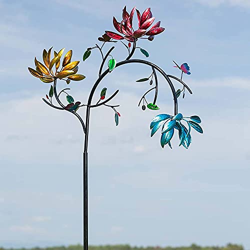 Large Metal Wind Spinner for Outdoor Garden Decoration,Windmill Wind Sculpture with Three Spinning Flowers and Butterflies,Beautiful Summer Multicolored Flowers Wind Spinner for Outdoor Yard Decor