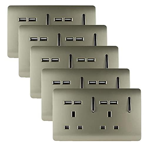 Trendi 2 bandas artísticas moderno brillante 13 Amp corto USB conmutado enchufe enchufe dorado (paquete de 5)