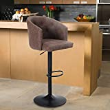 Maison Counter Height Bar Stool Height Adjustable Barstool for Kitchen Counter Swivel Bar Chair with Rounded Mid-Back for Kitchen Island, Brown (1 Stool)